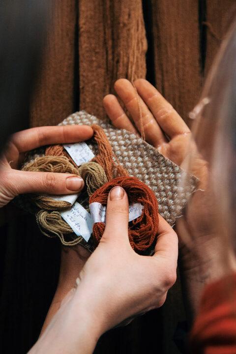 Échantillons de laine Mérinos d'Arles teints avec de la garance de Provence et d'autres plantes tinctoriales de Méditerranée, © Max Felix