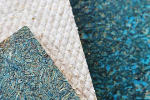 Panneau rigide pressé avec différentes finitions. Mycélium sur substrat de coproduits agro-alimentaires., © Atelier LUMA