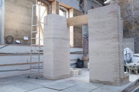 Prototype de construction en pisé à partir de terre crue et minéraux revalorisés, © Atelier LUMA