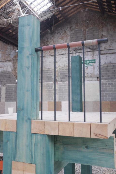 Prototype de structure en bois colorée avec des pigments d'algues, © Atelier LUMA