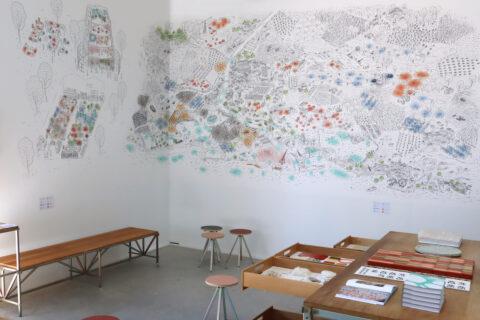 Map of the bioregion's resources in the Atelier LUMA exhibition space, © Adrian Deweerdt