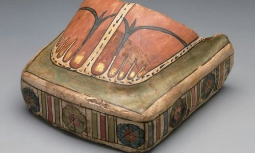 © Painted Cartonnage Mummy Foot Case With Slippers Egyptian Greco Roman Period  A D 100–1991